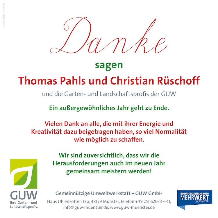 Die GUW Münster wünscht Frohe Weihnachten 2020